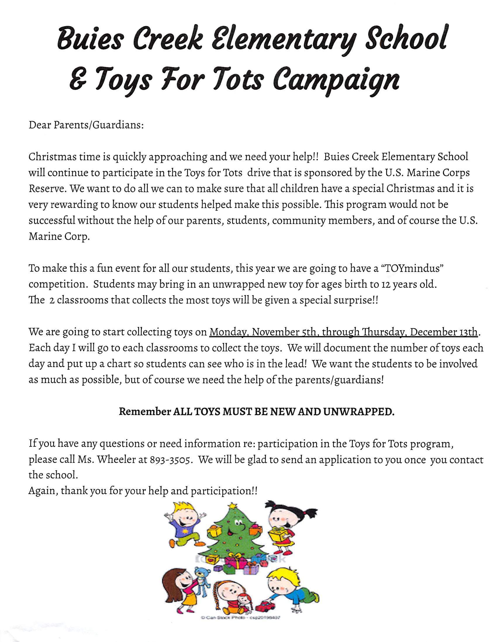 Announcement Email Sample Toys For Tots : Buies creek elementary homepage