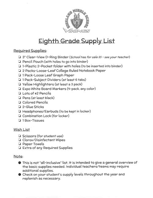 Supply List Overview