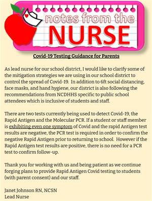 A Note from the Nurse on Covid