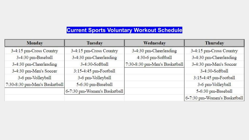 Fall Workout Schedule
