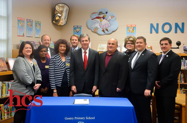 Governor Roy Cooper visits and sign the proclamation for American Education Week