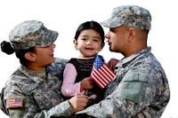Military parents holding child